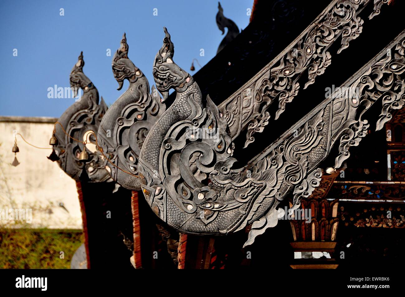 Chiang Mai Thailand Exquisite carved teak wood roof dragons decorate the Vihan at Wat Chedi Luang & Chiang Mai Thailand: Exquisite carved teak wood roof dragons ... memphite.com