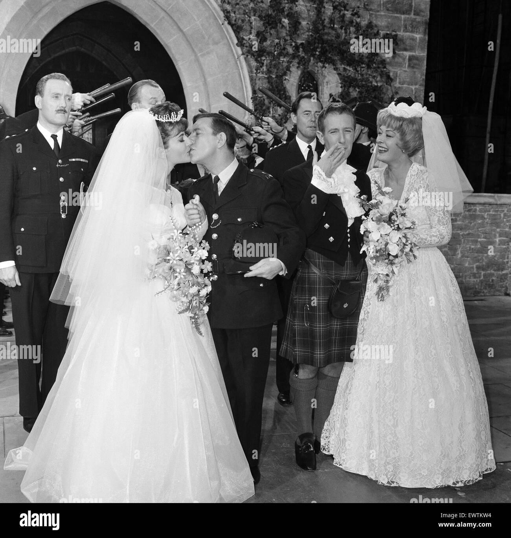 Norman Wisdom Marries Film Star Jennifer Jayne At Pinewood Studios It Was A Double Wedding Alongside Ronnie Stevens And His Bride Eleanor Summerfield