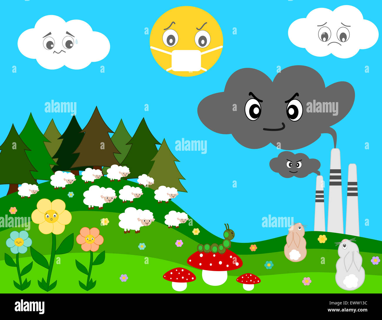 Nature worried about factory pollution cartoon concept nature worried about factory pollution cartoon concept illustration sciox Gallery