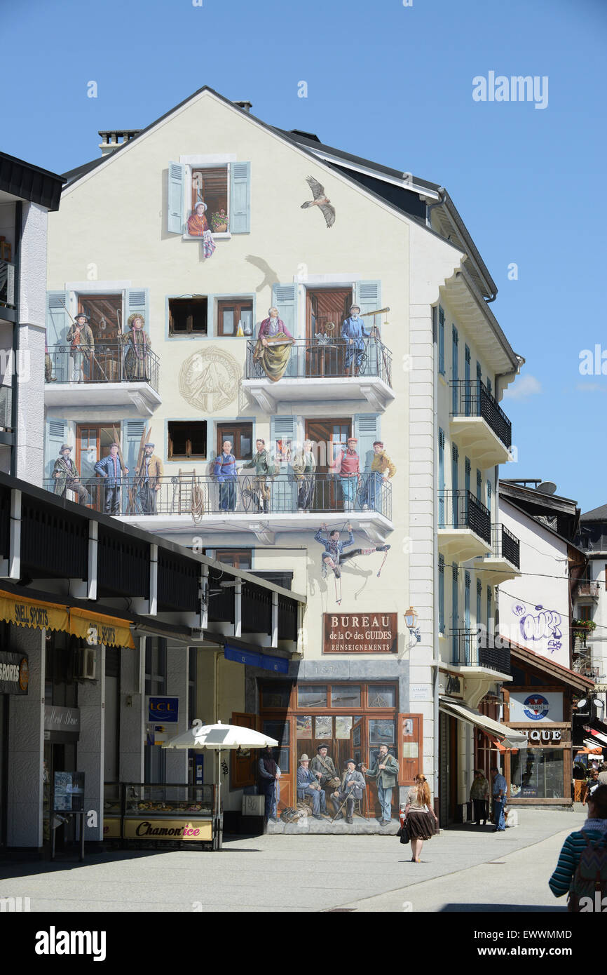 Chamonix France Mural on building in Rue Doctier Paccard in