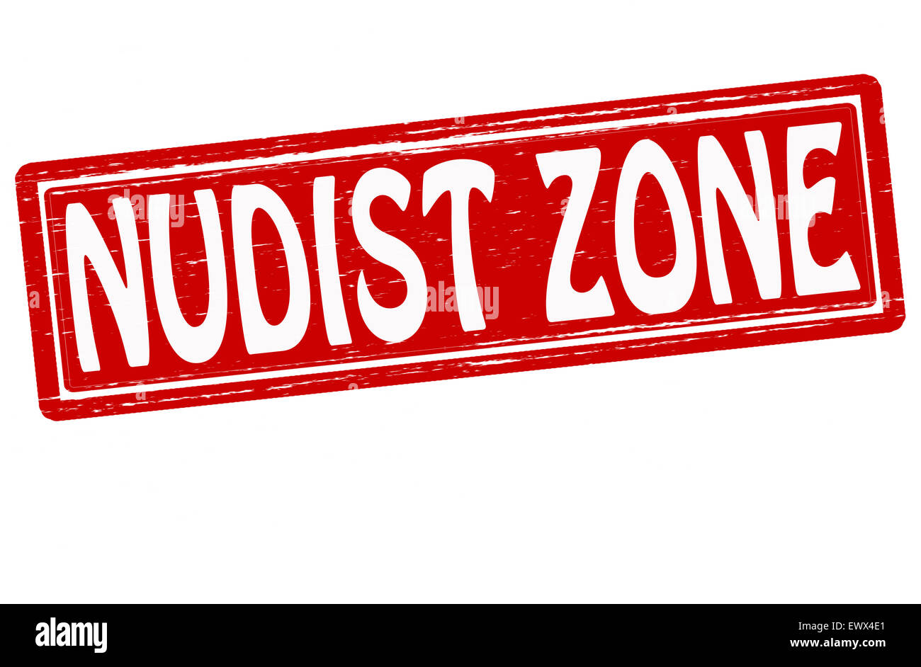 Nudist Zone Stamp with text nudist zone inside, illustration