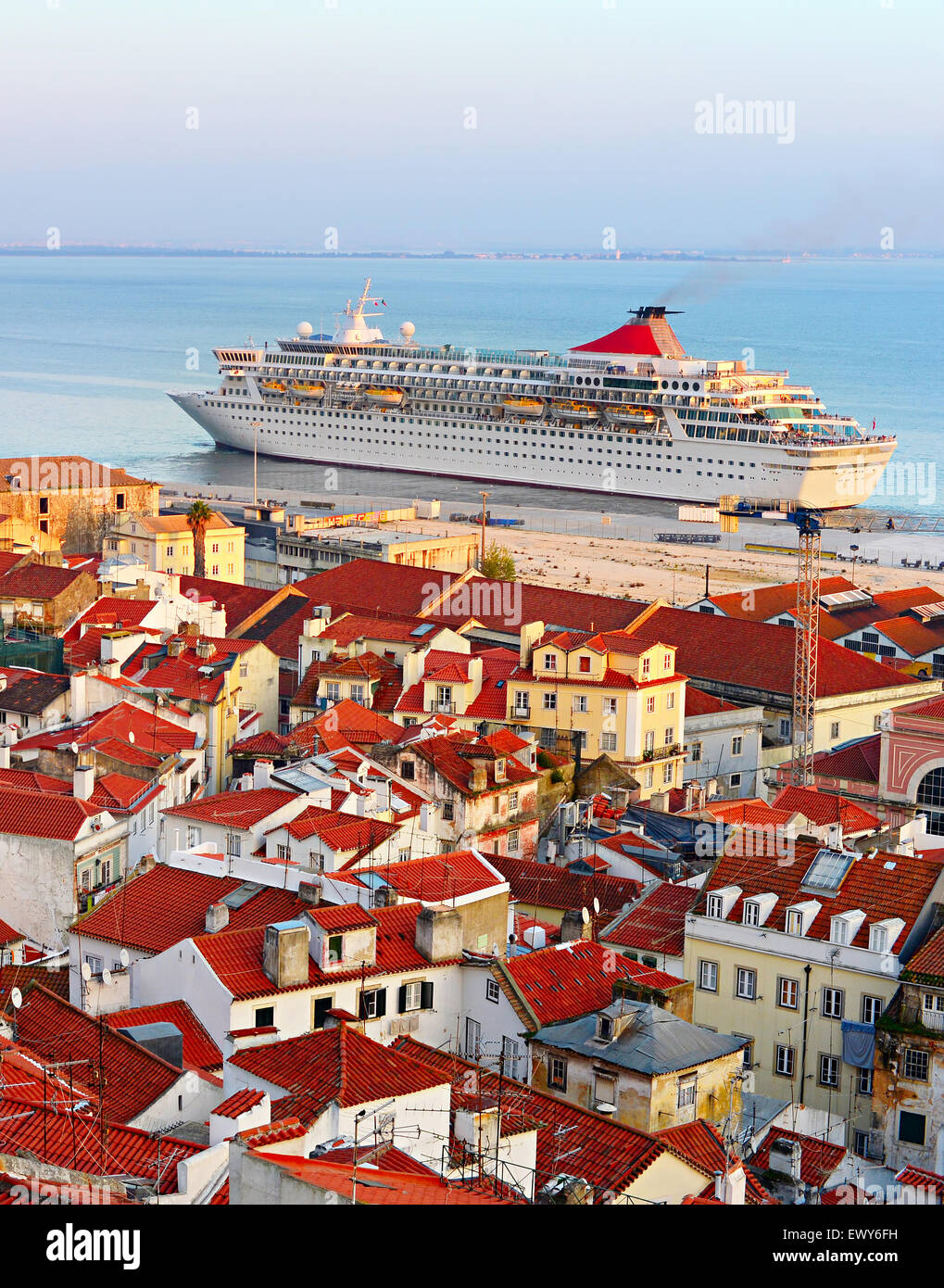 Cruise Ship In Lisbon Harbor And Traditional Red Roofs Of Alfama - Lisbon cruise ship port