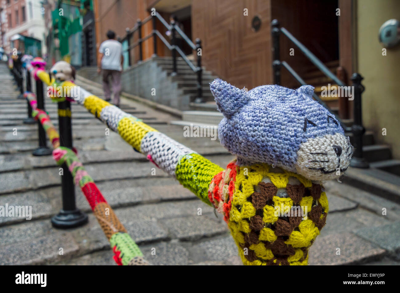 Knitting Yarn Hong Kong : Yarn bombing works of artist esther poon on pottinger