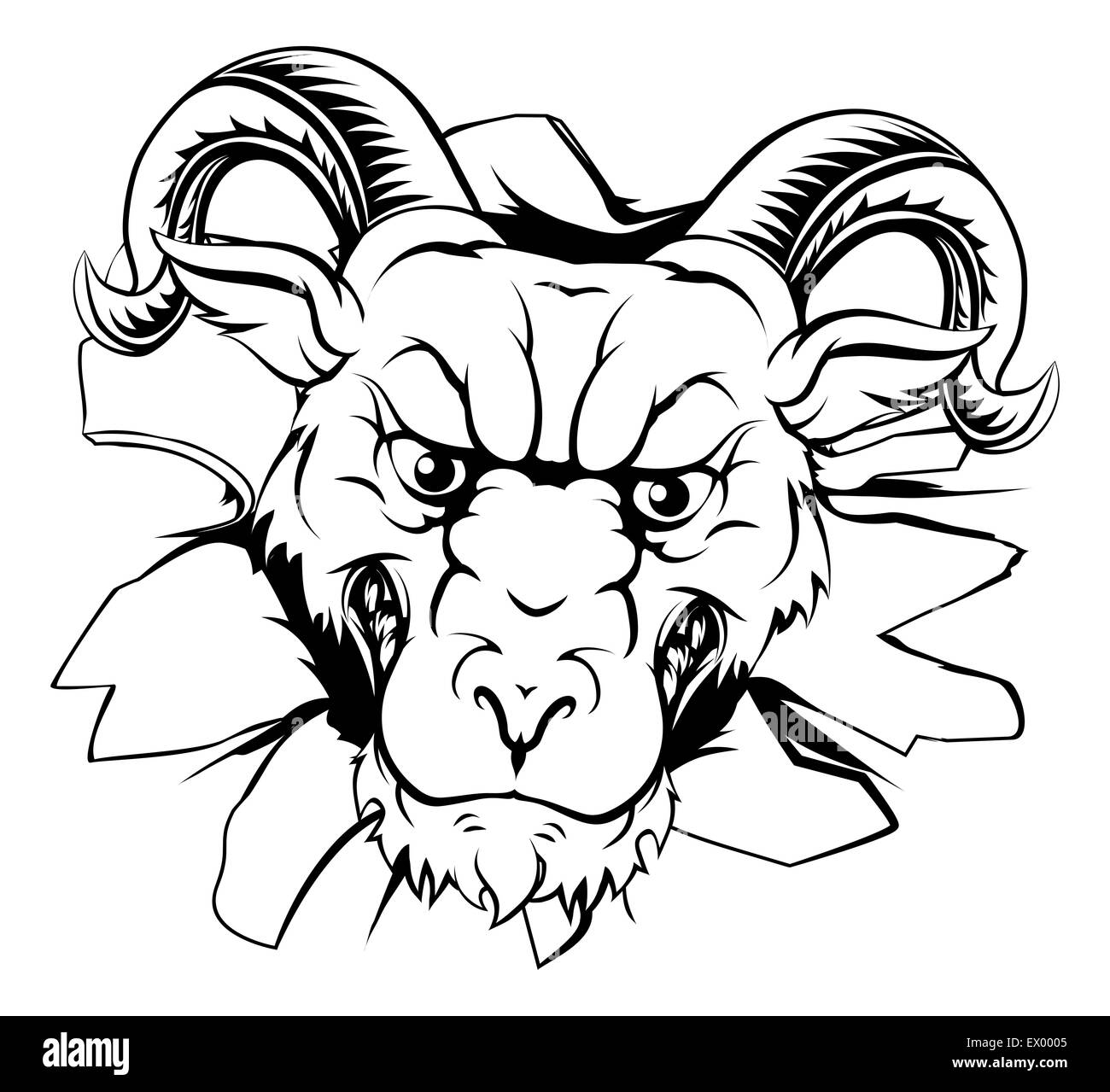 an illustration of a tough looking ram animal sports mascot or