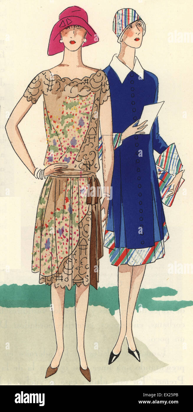 Women In Afternoon Dresses And Cloche Hats 1920s