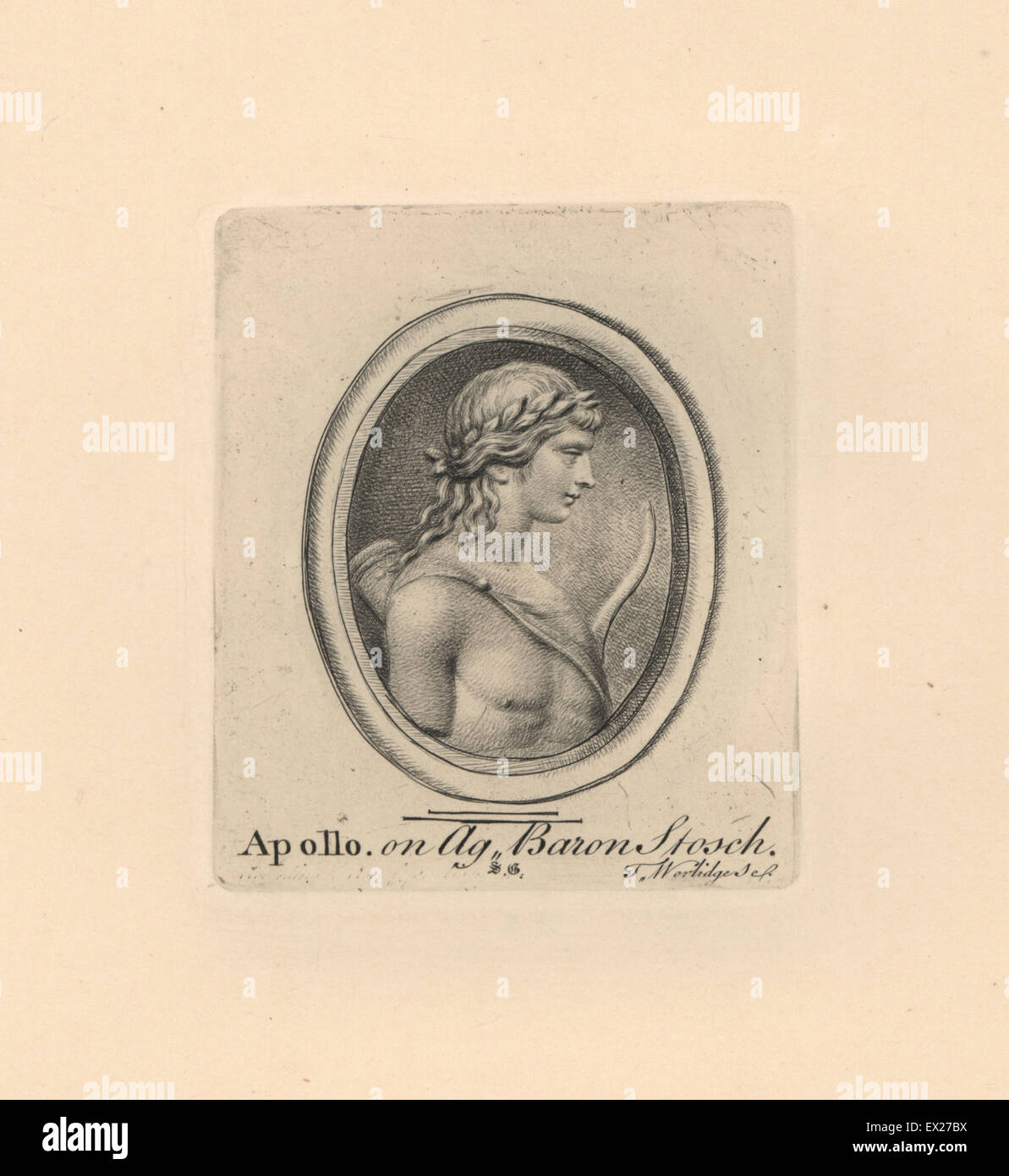 portrait of apollo greek god of music with wreath bow and