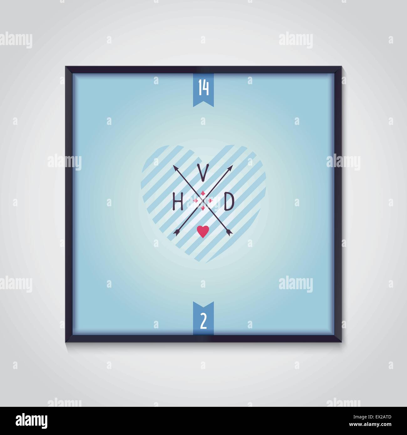 Love sign with arrows and capital letters Valentines Day Vector