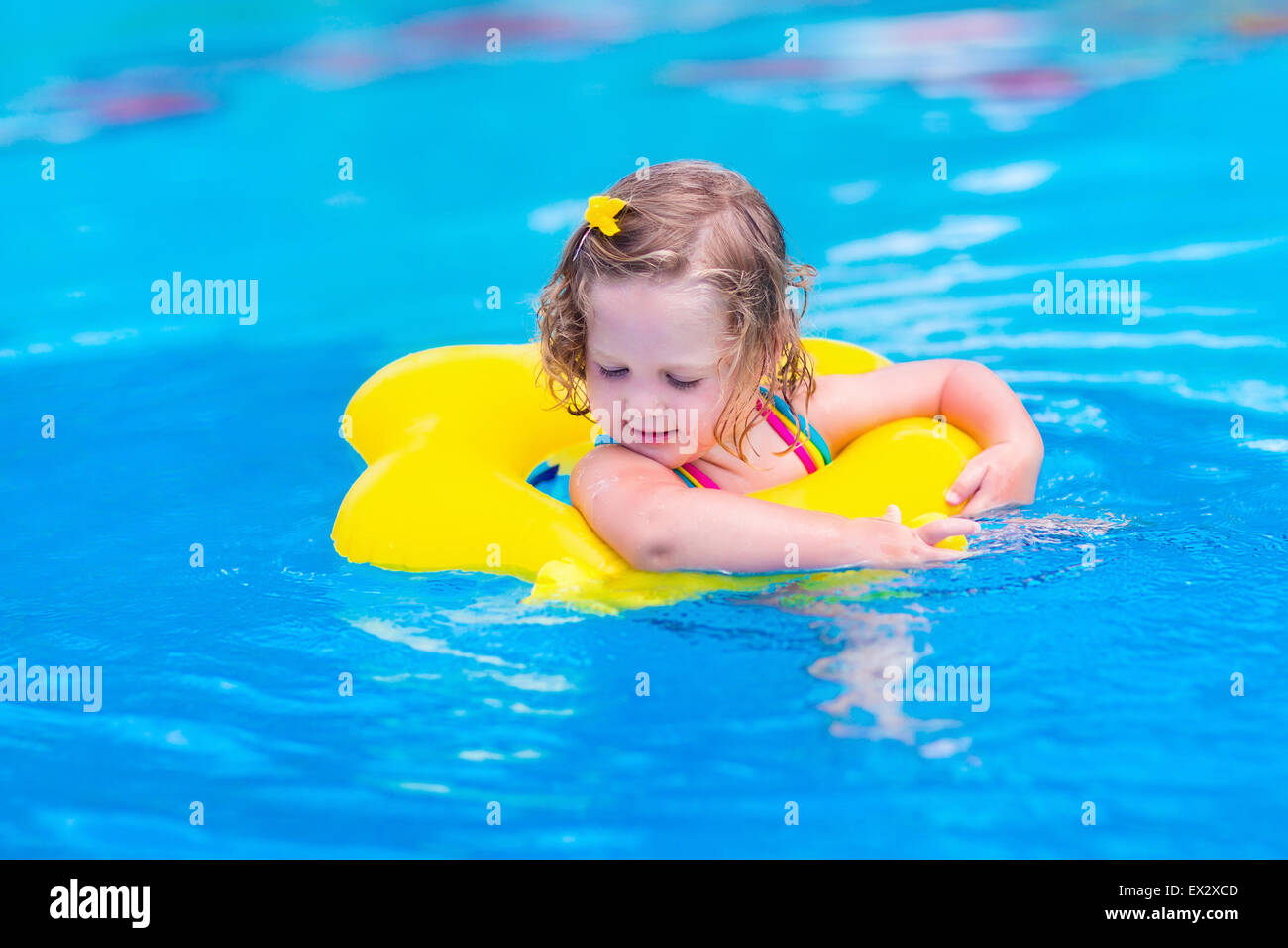 Kids In Swimming Pool Children Swim Outdoors Toddler Child During Stock Photo Royalty Free
