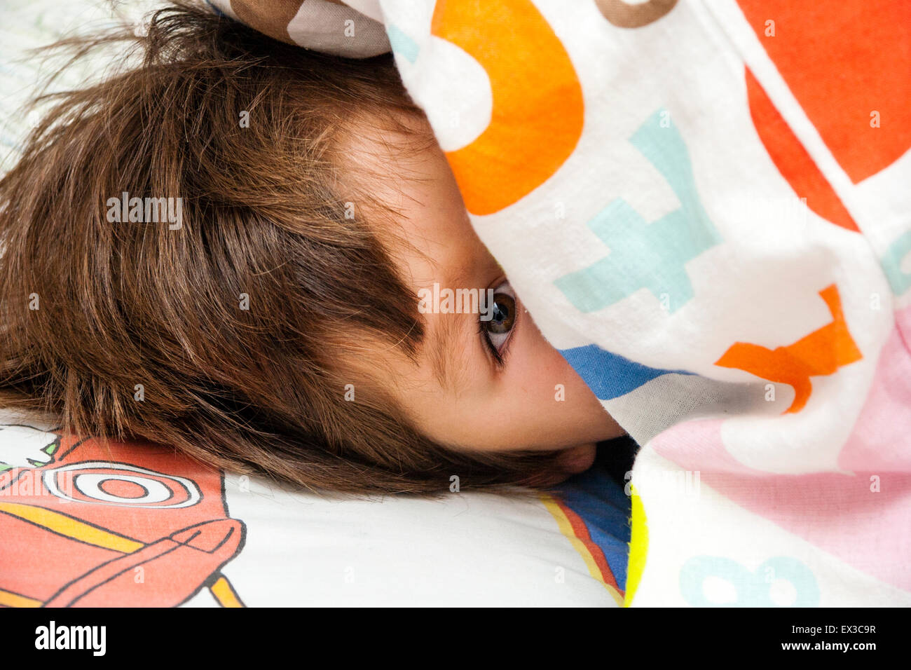 3 to 5 year old caucasian boy indoors laying on bed snuggled in duvet face half hidden one eyes looking at viewer - Hidden Pictures For 3 Year Olds