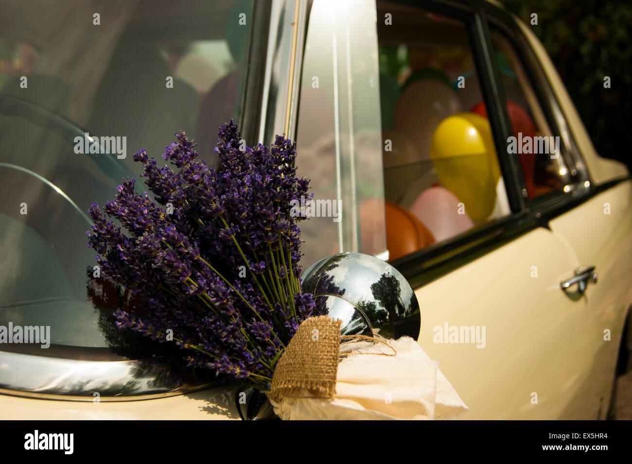 Bridal car decoration. Lavender and white ribbon on bridal vintage ...
