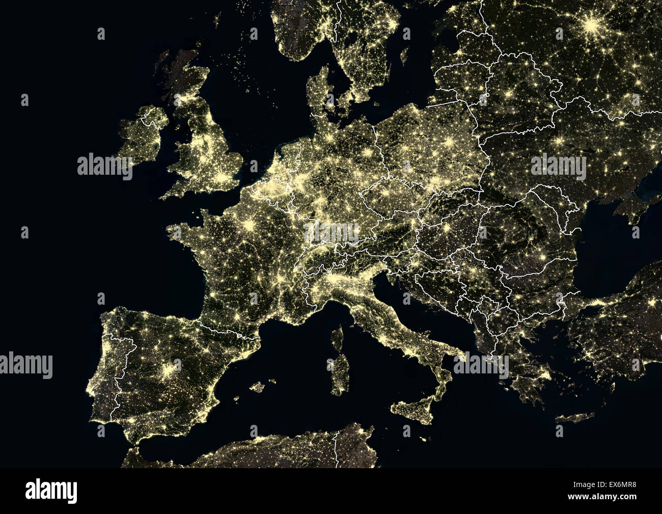 Western Europe At Night In From Portugal To Moscow Russia - Portugal map satellite