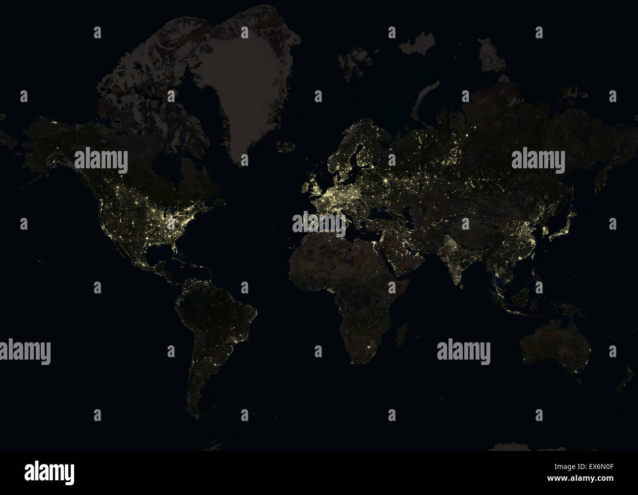 World At Night In Showing A World Map In Mercator Projection - World satellite map lights
