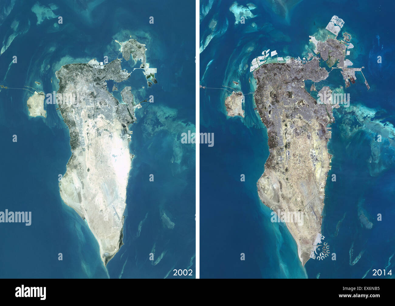 Satellite View Of Bahrain In And This Before And After - World satellite map 2014