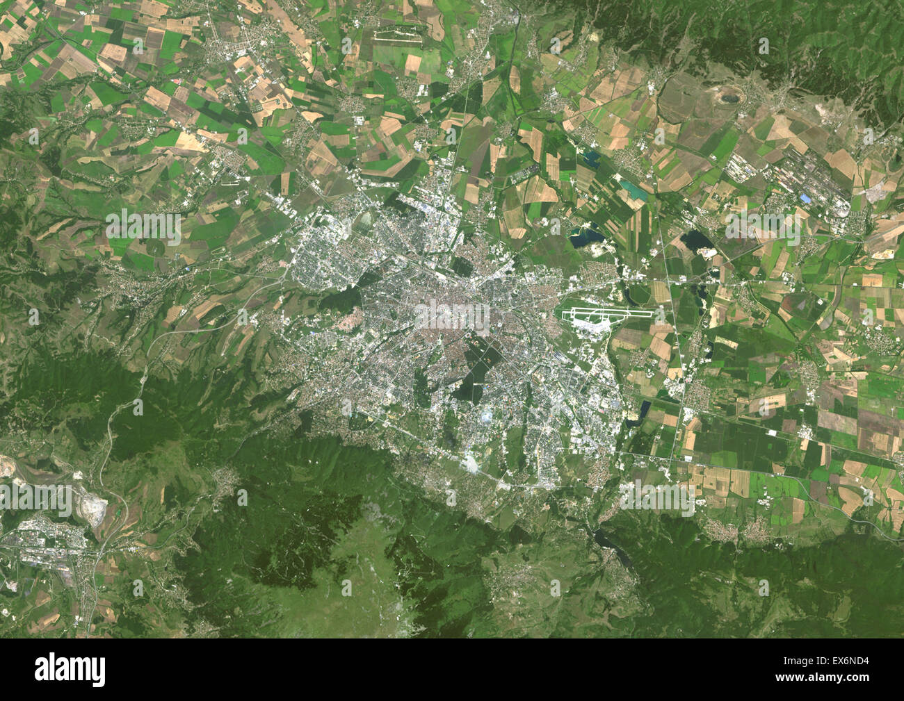 colour satellite image of sofia bulgaria image taken on august 14 2014 with landsat 8 data