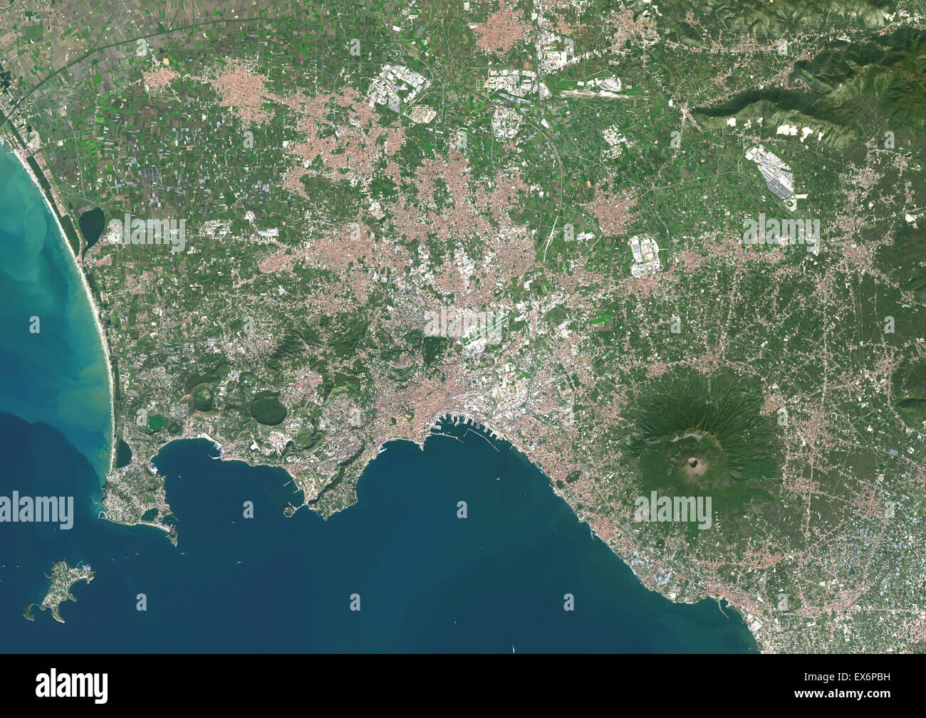 Colour Satellite Image Of Naples Italy The Volcano Mount - Mount vesuvius map