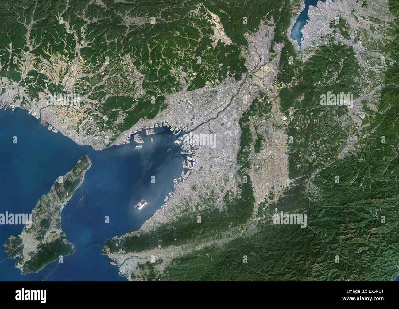 Colour Satellite Image Of Kyoto Osaka And Kobe Japan This - Japan map satellite