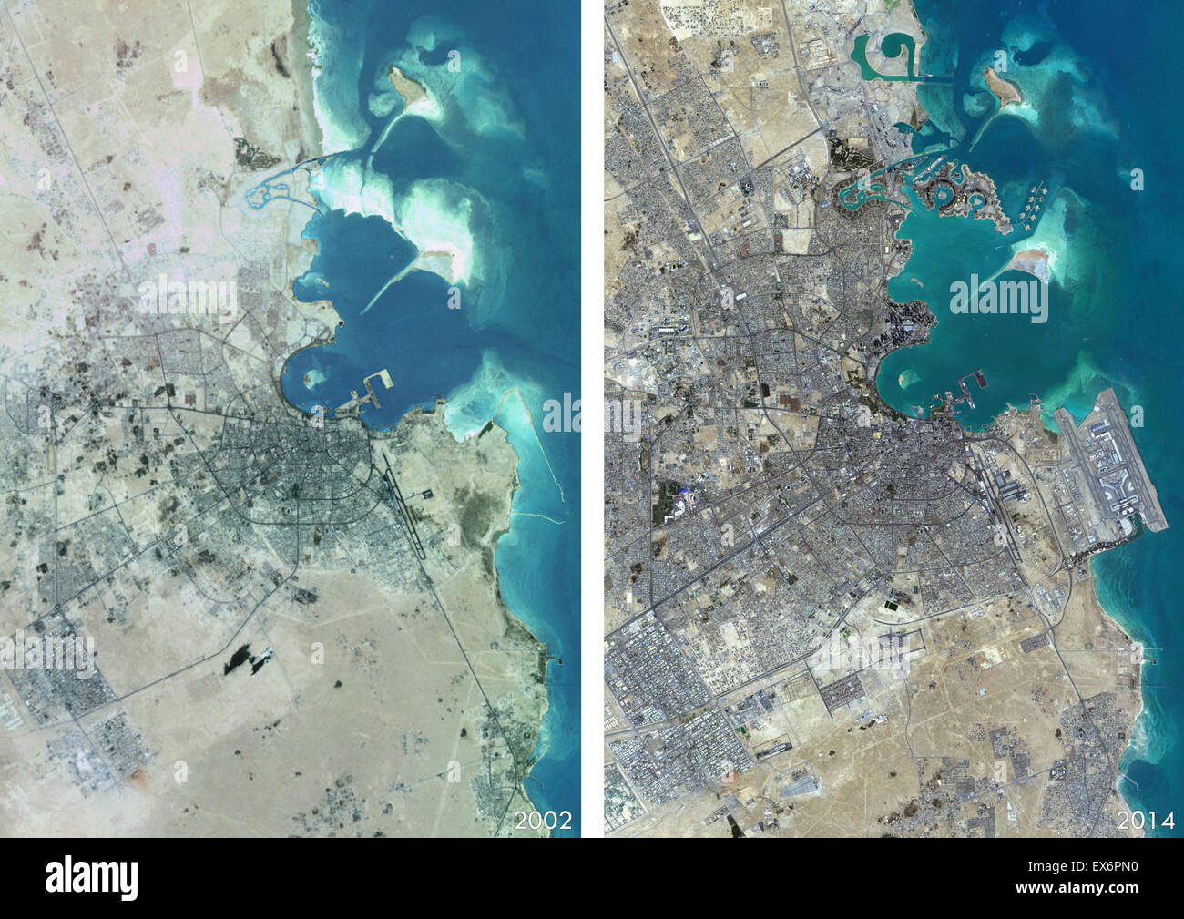 Satellite View Of Doha Qatar In And This Before And - World satellite map 2014