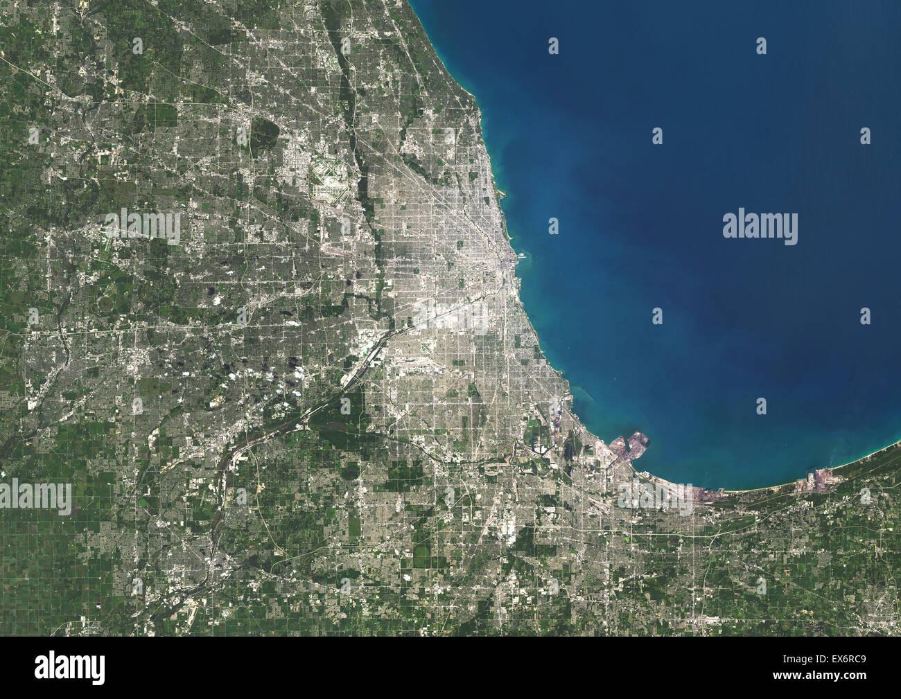 Colour Satellite Image Of Chicago Illinois USA Image Taken On - Chicago map satellite