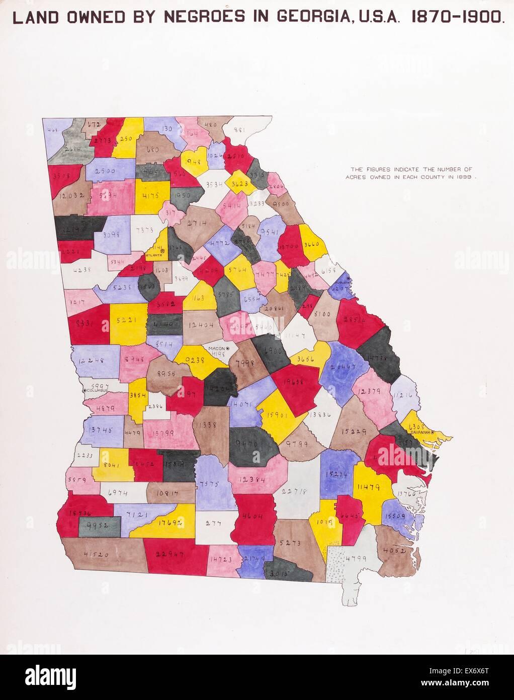 The Georgia Negro Land Owned By Negroes In Georgia USA Stock - Georgia usa map