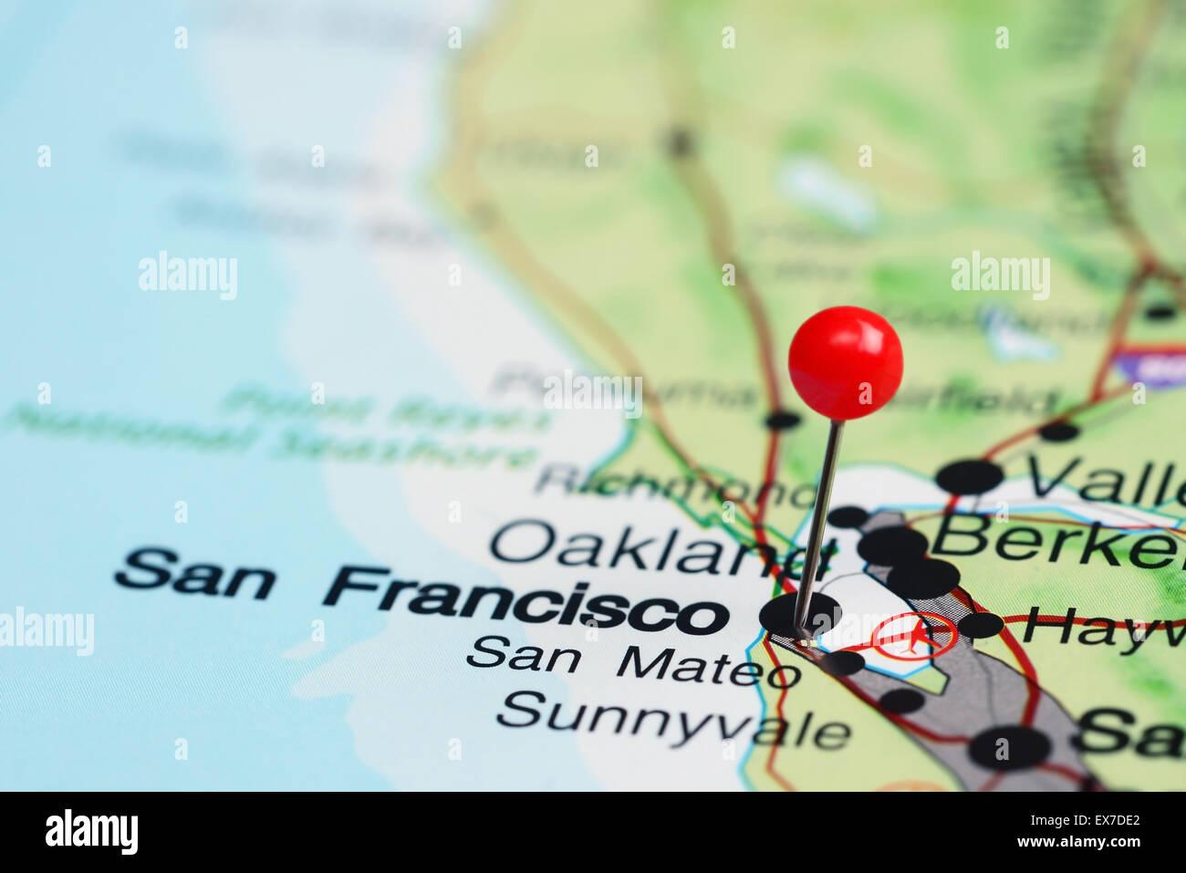 San Francisco Pinned On A Map Of USA Stock Photo Royalty Free - Usa map san francisco