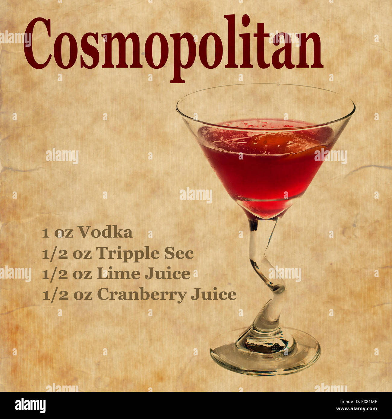 Old vintage or grunge recipe notebook with cosmopolitan for Cosmopolitan cocktail