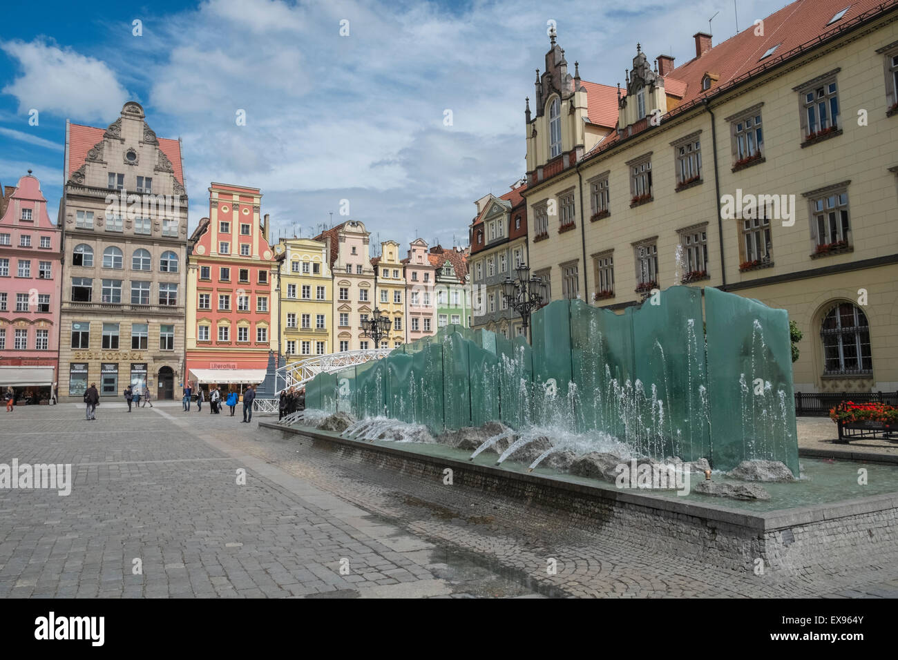 Modern Water Fountain Feature In The Market Square, Old Town, Wroclaw,  Poland