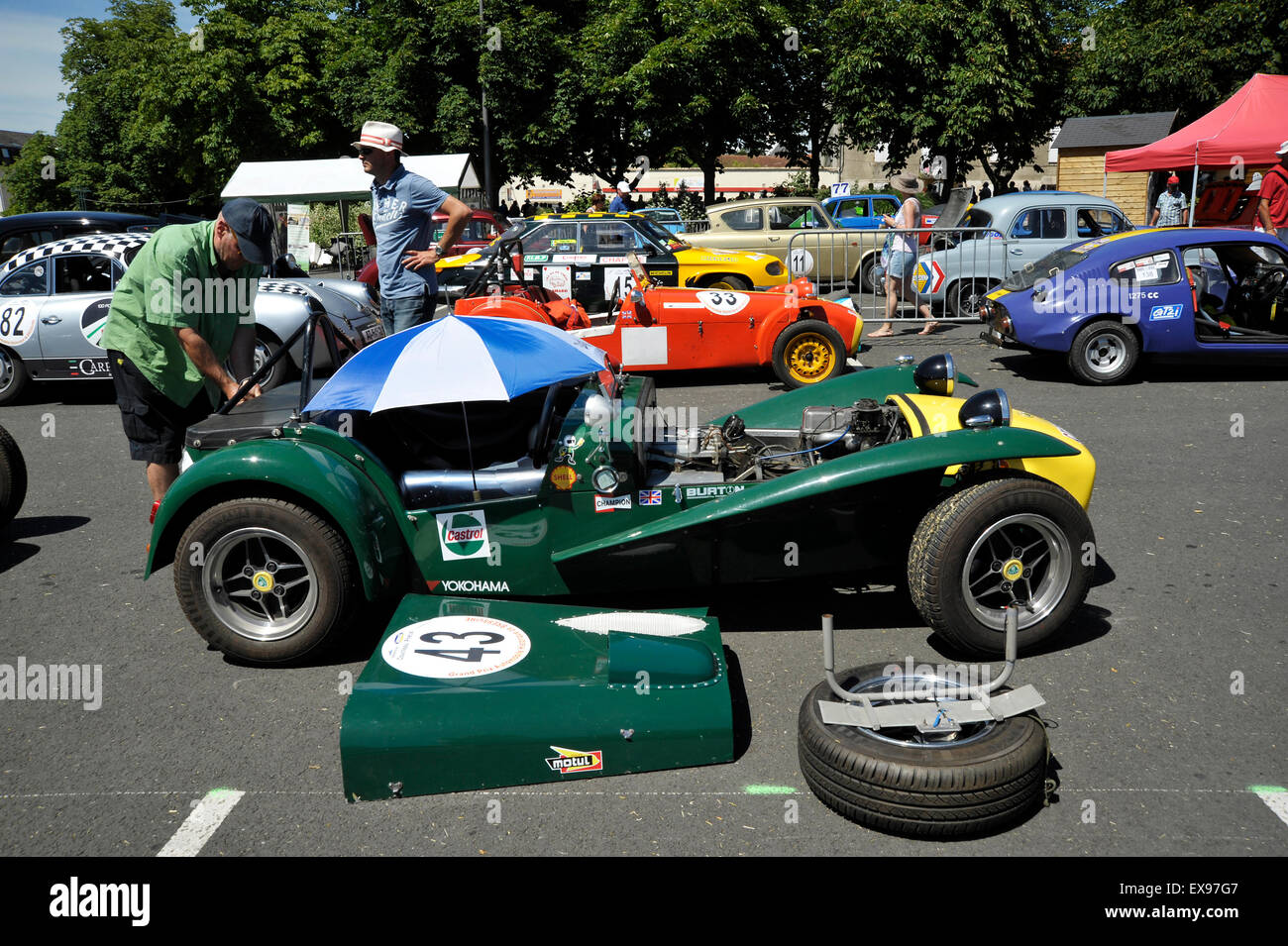 lotus caterham in the pits at the bressuire historic grand prix stock photo royalty free image. Black Bedroom Furniture Sets. Home Design Ideas