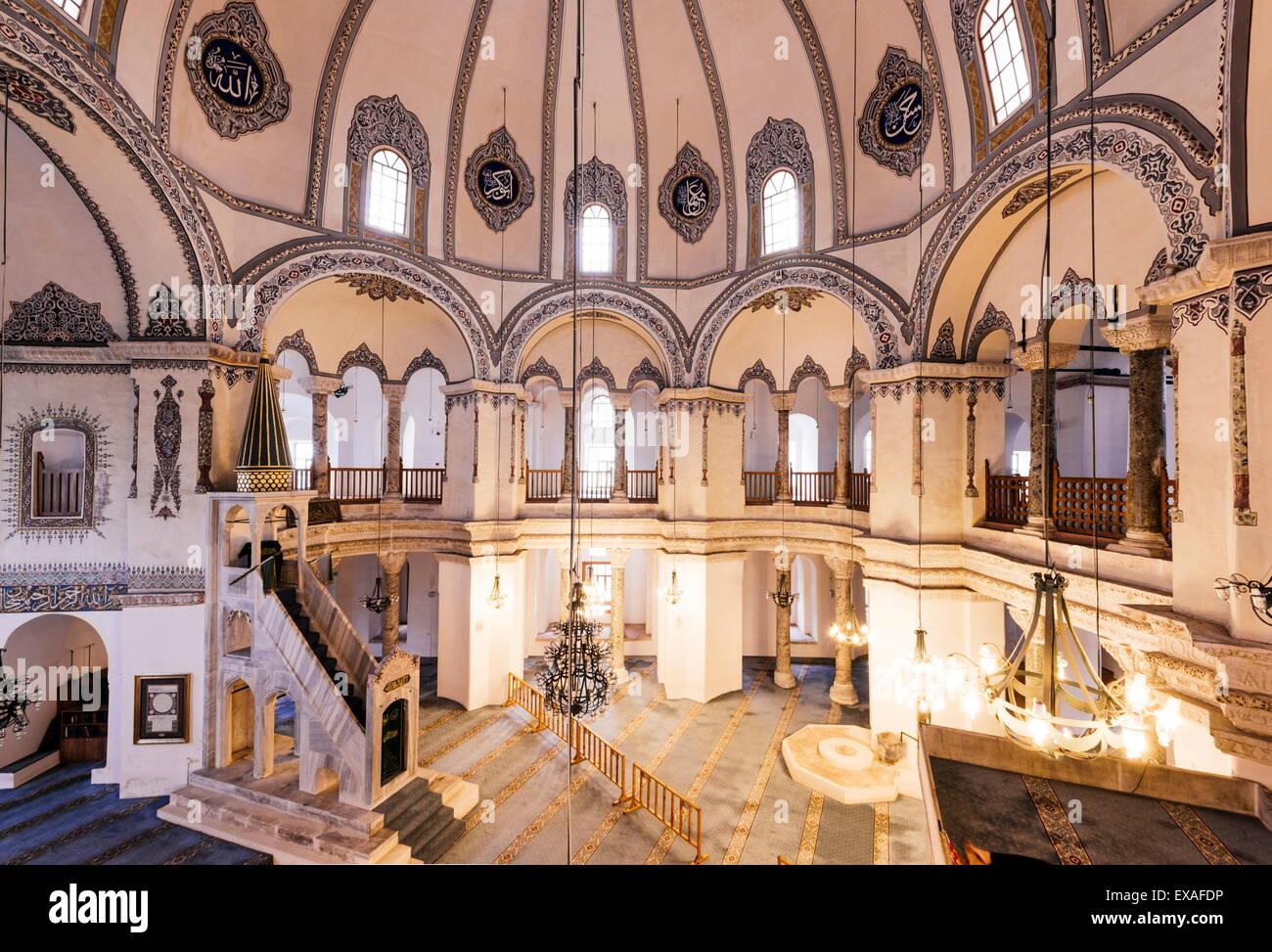 Interior of Little Aya Sofya Mosque (Kucuk Ayasofya Camii Stock Photo, Royalt...