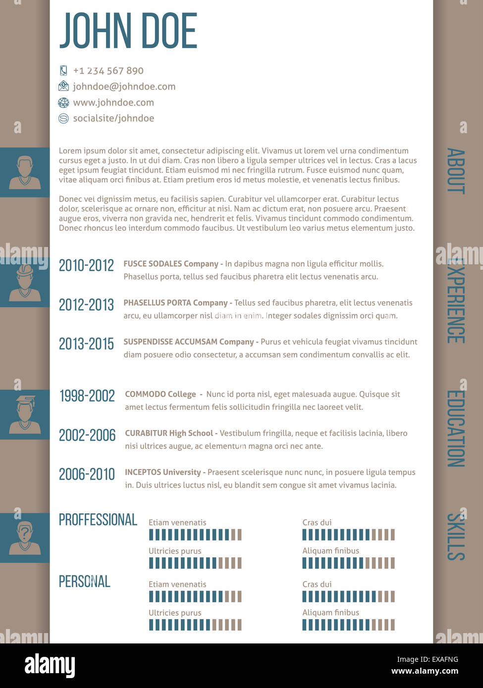 modern curriculum vitae cv resume template design with