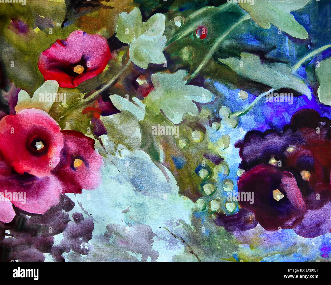 Watercolor painting of the beautiful flowers stock photo royalty watercolor painting of the beautiful flowers izmirmasajfo Image collections