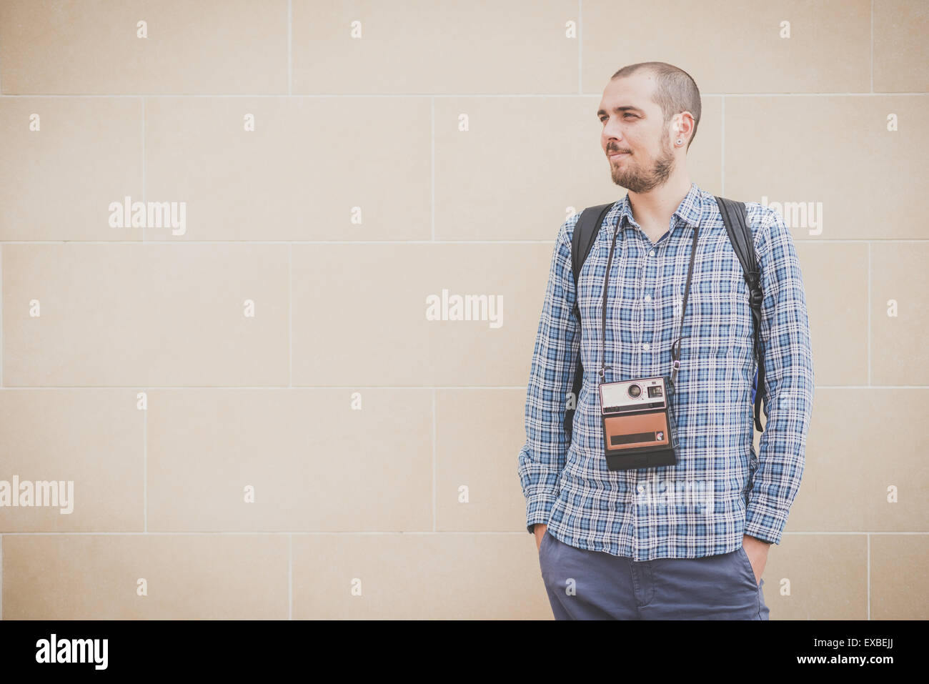 handsome hipster casual multitasking modern man with ...