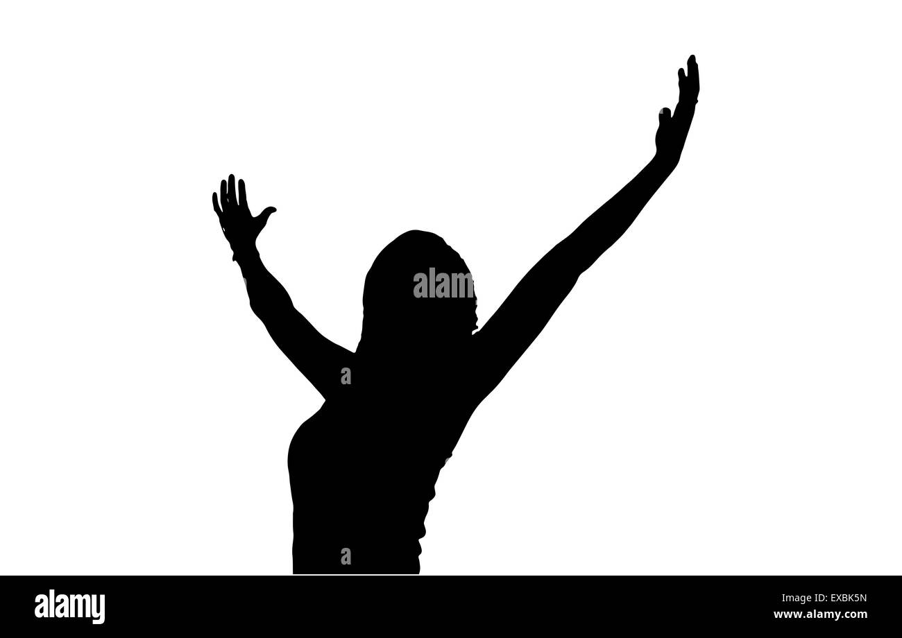 Woman Reaching Up Silhouette