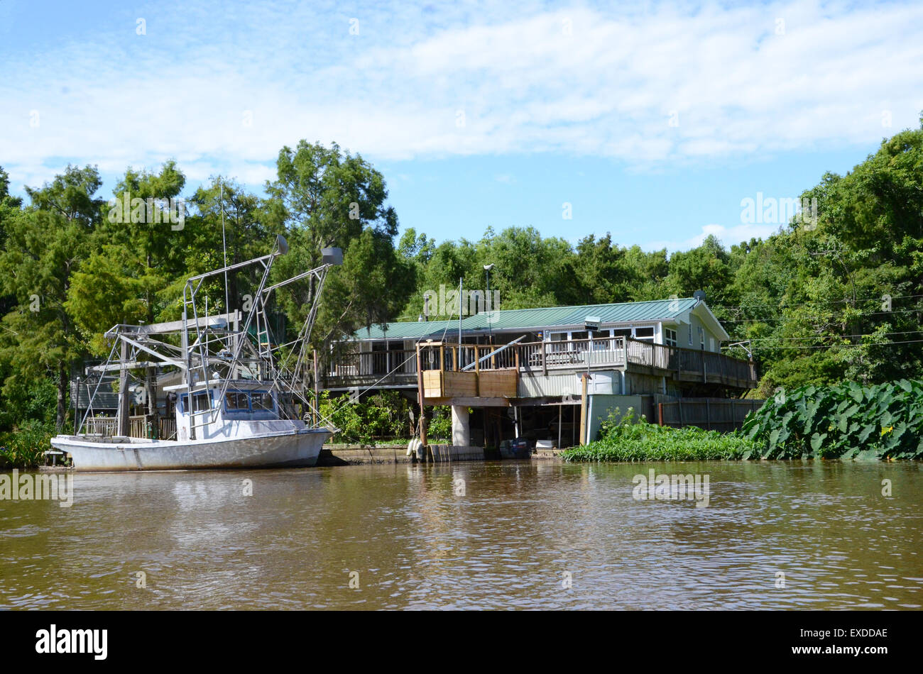 Riverside Homes Shrimp Boat Swamp Louisiana Pearl River