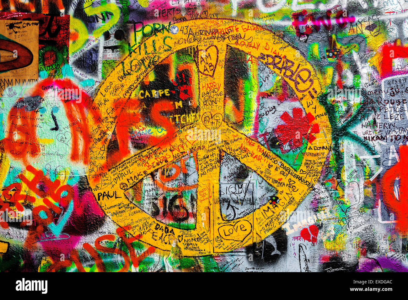 Prague czech republic may 21 2015 peace sign on famous john prague czech republic may 21 2015 peace sign on famous john lennon wall on kampa island in prague filled with beatles inspi buycottarizona