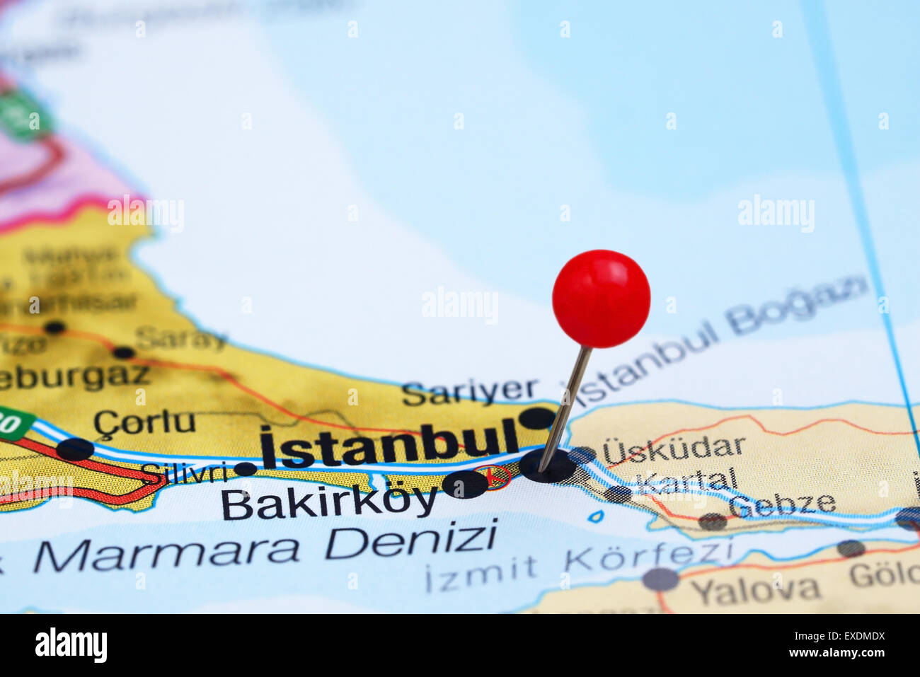 Istanbul pinned on a map of europe Stock Photo Royalty Free Image