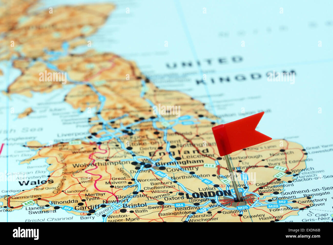 London Pinned On A Map Of Europe Stock Photo Royalty Free Image - London map in europe