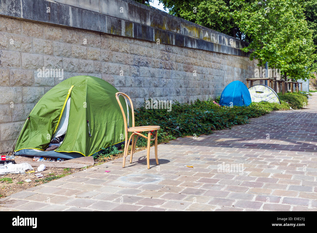 Tents of homeless people at riverside Seine in Paris France & Tents of homeless people at riverside Seine in Paris France Stock ...