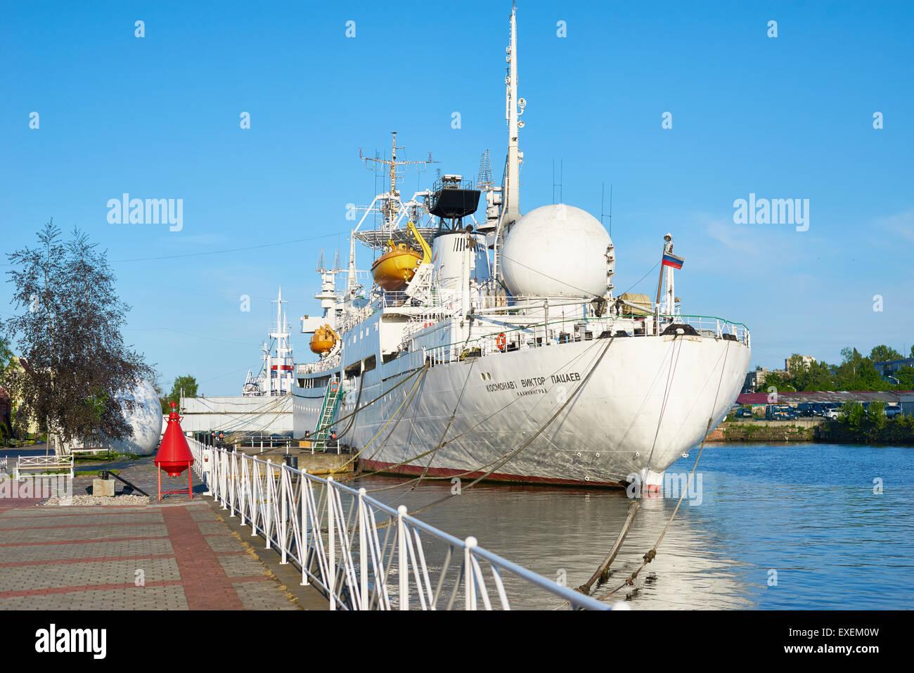 Soviet memorial dedicated to cosmonauts from kaliningrad - Kaliningrad Russia May 21 2015 Cosmonaut Viktor Patsaev Research Vessel In The Embankment Of The World Ocean Museum