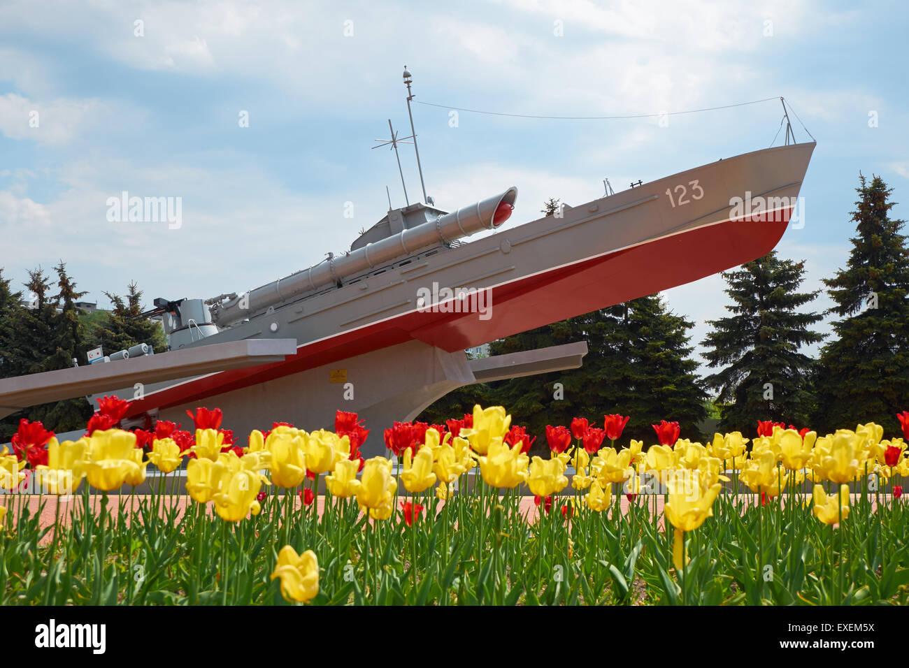 Soviet memorial dedicated to cosmonauts from kaliningrad - Kaliningrad Russia May 21 2015 World War Ii Memorial Torpedo Boat Komsomolets Work Of Sculptor Morgunov In 1978