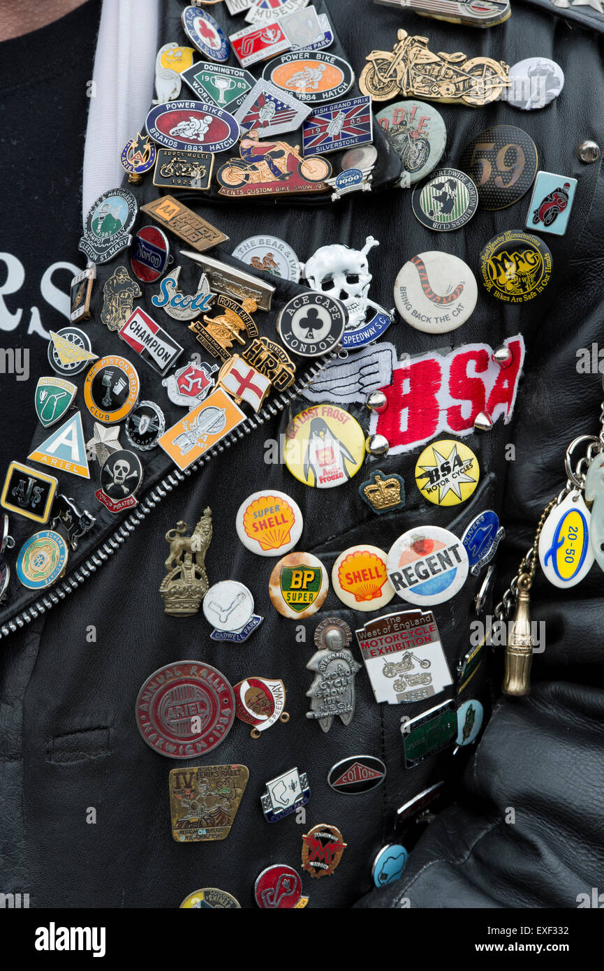 Leather jacket patches - Rockers Leather Jacket Covered In Studs Patches And Badges Ton Up Day Jacks