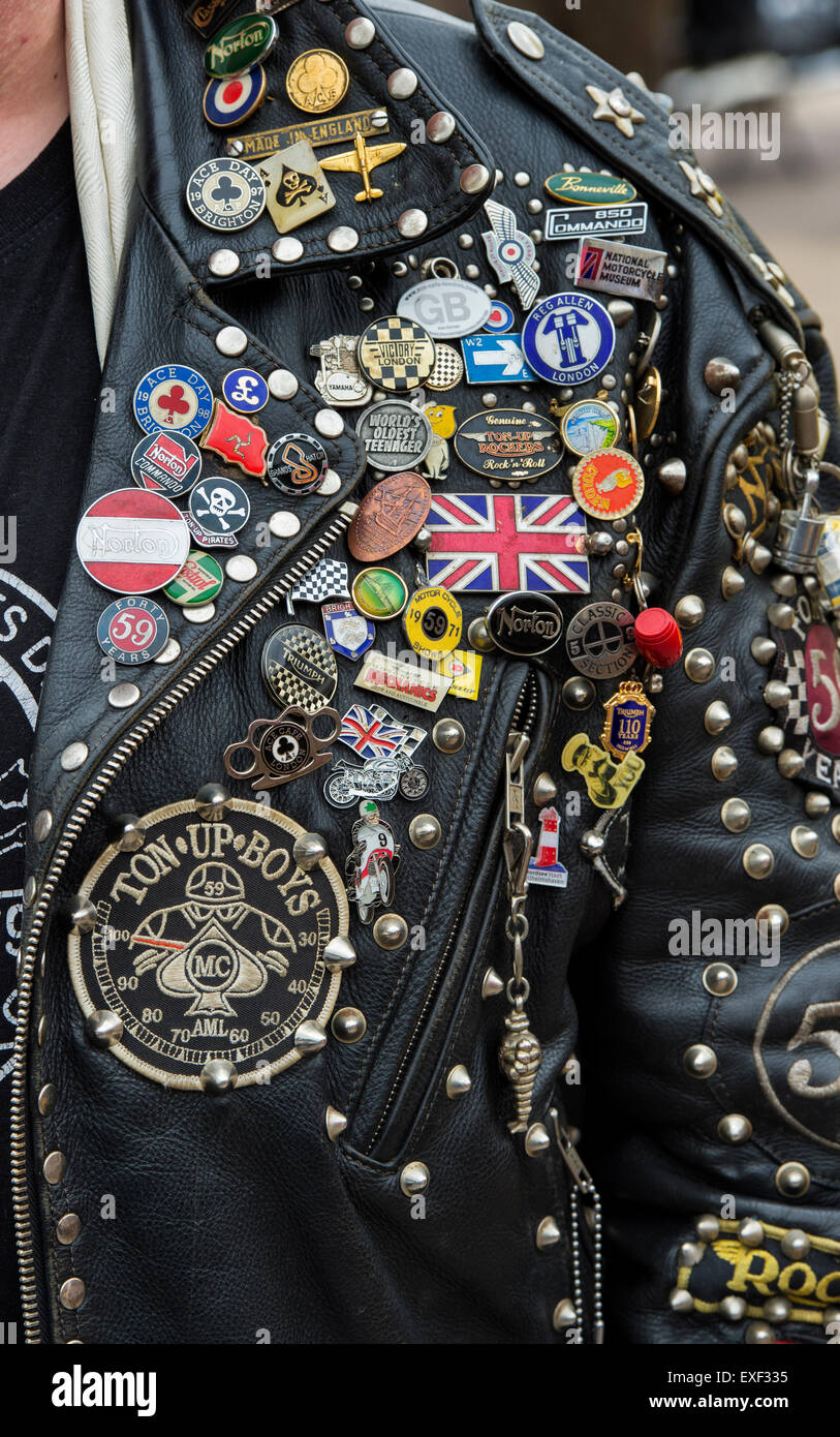 Leather jacket patches - Rockers Leather Jacket Covered In Studs Patches And Badges Ton Up Day Jacks Hill Cafe Towcester Northamptonshire England