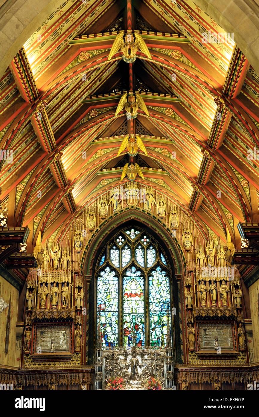 Gothic Revival Interior sandringham parish church, interior of 20th century gothic revival
