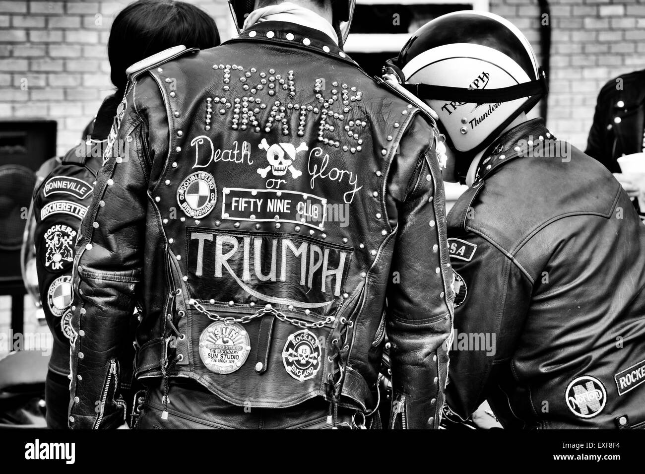 Leather jacket patches - Rockers Leather Jacket Covered In Studs Patches And Badges Ton Up Day Jacks Hill Cafe Northamptonshire England Monochrome