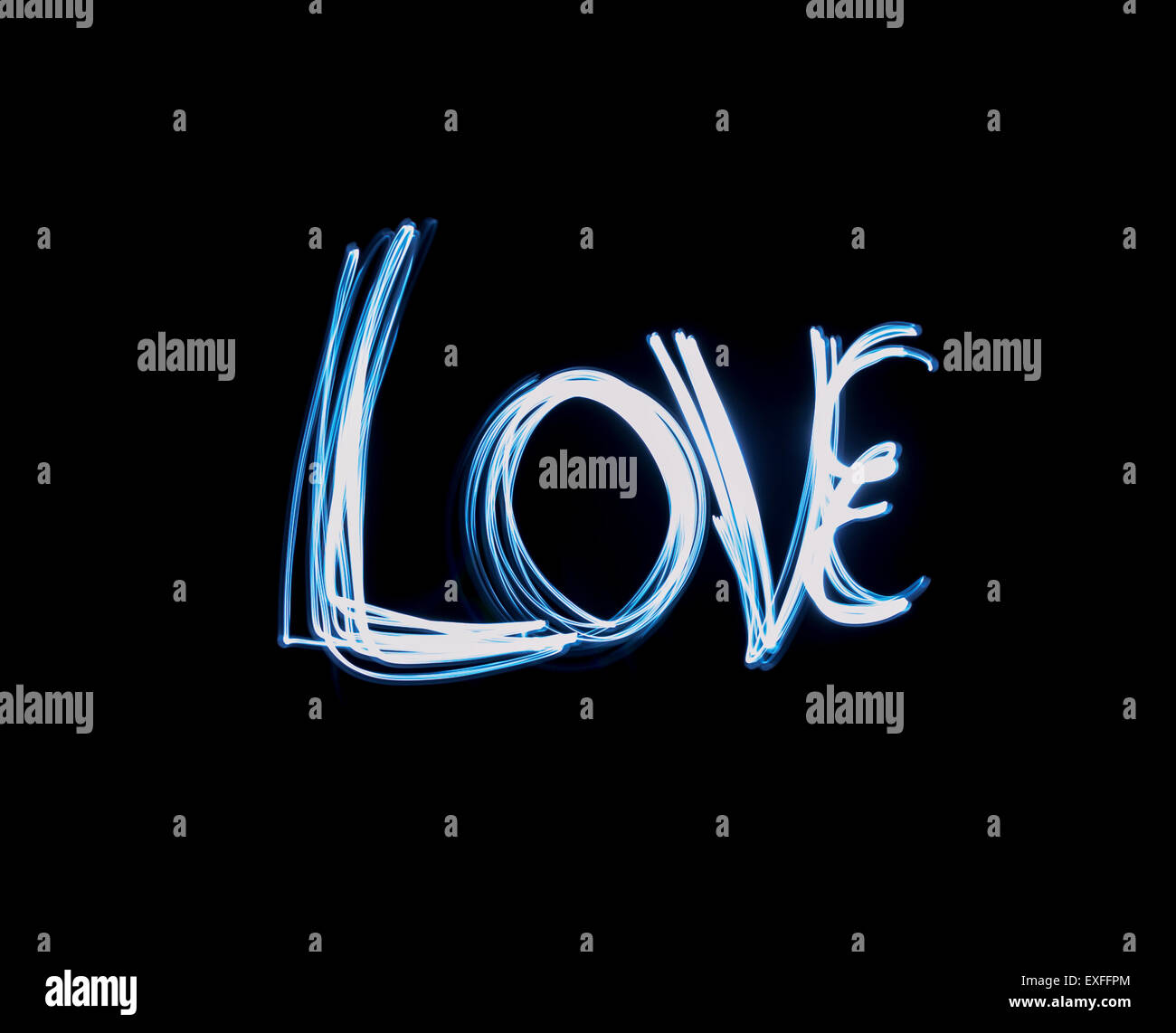 light in the darkness painting. single love text painted in blue light the darkness painting