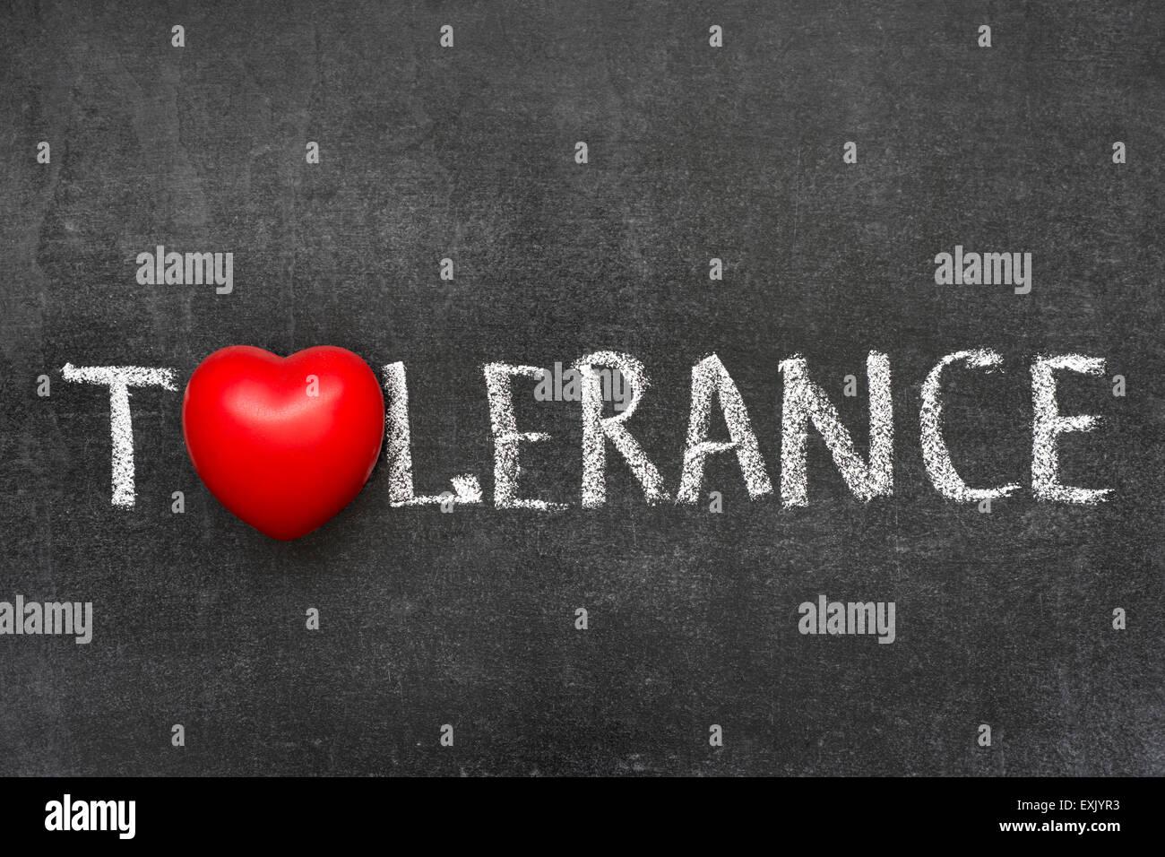 Tolerance word handwritten on blackboard with heart symbol instead tolerance word handwritten on blackboard with heart symbol instead of o biocorpaavc