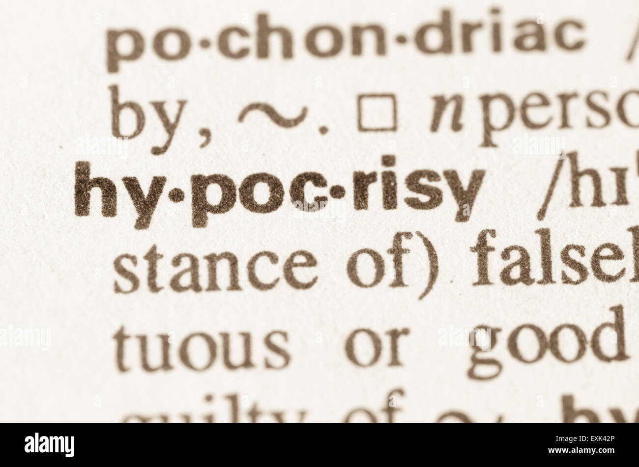 Definition of word hypocrisy in dictionary Stock Photo ...