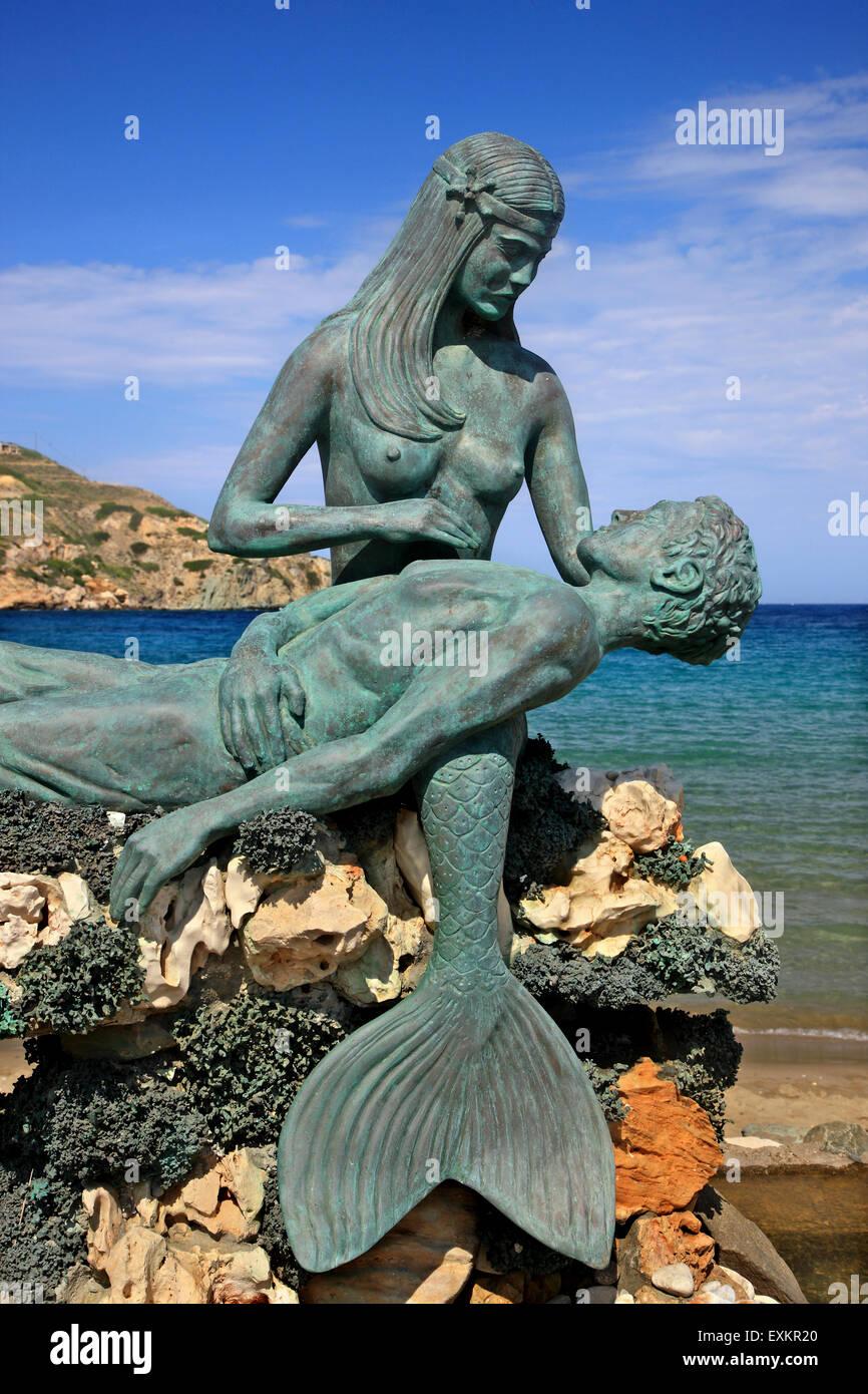 mermaid statue at kini syros island σύρος greek cyclades