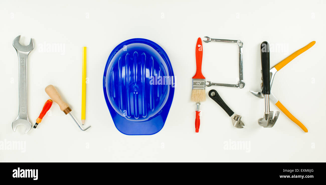 work word written with construction tools on white background