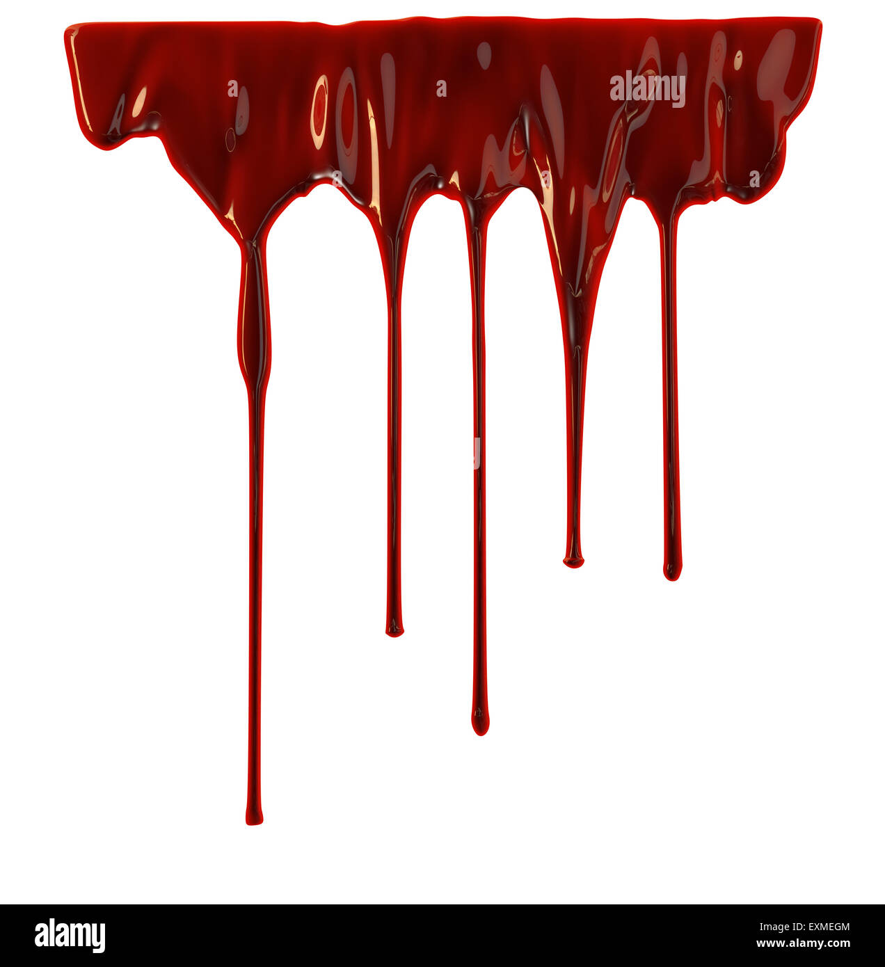 blood dripping down over white background stock photo