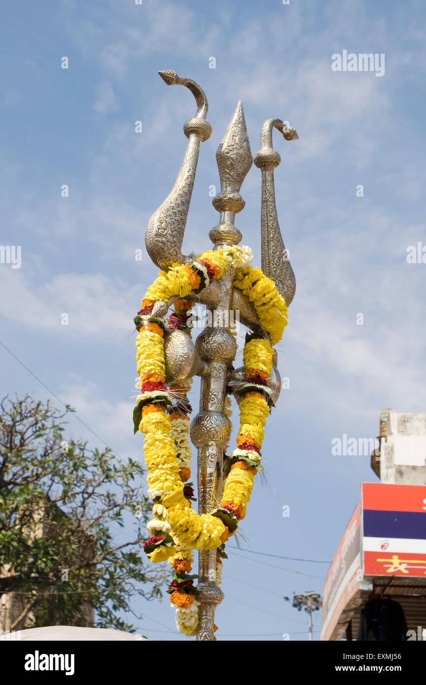 Lord shiva trishul picture - Stock Photo Trishul Of Lord Shiva In Varanasi On Ganga River Uttar Pradesh India